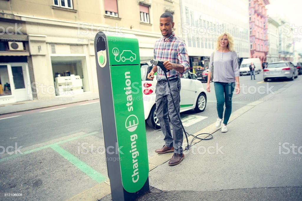 Car charging station stock photo