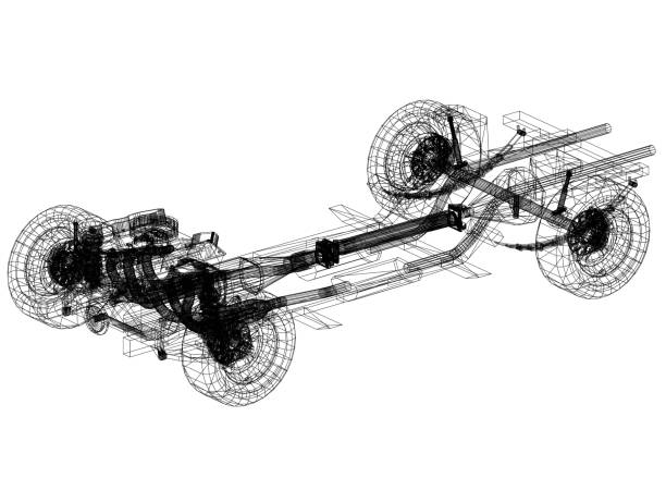 car chassis and engine Design – Blueprint - isolated stock photo