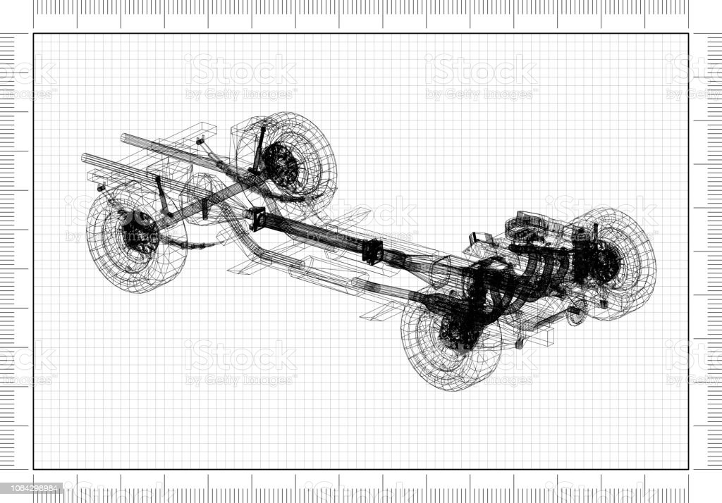 car chassis and engine Design – Blueprint stock photo