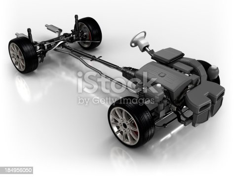 Car chassis - isolated on white with clipping path