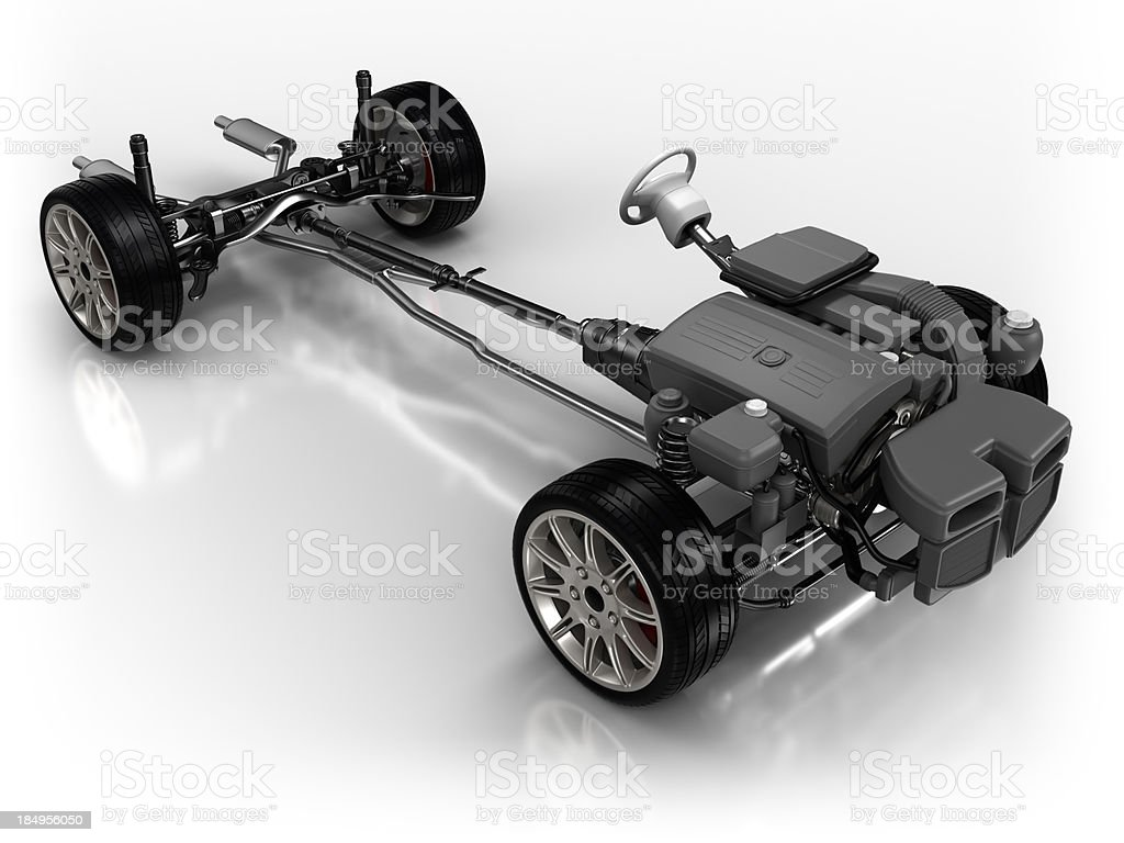 Car chassis - isolated on white with clipping path stock photo