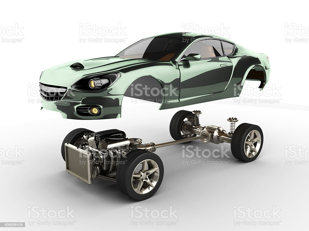 Nice Car Chassis With Engine Of Luxury Brandless Sportcar Royalty Free Stock  Photo