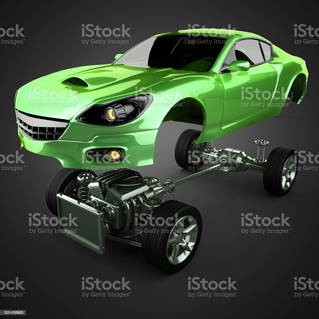 Car chassis with engine of luxury brandless sportcar stock photo