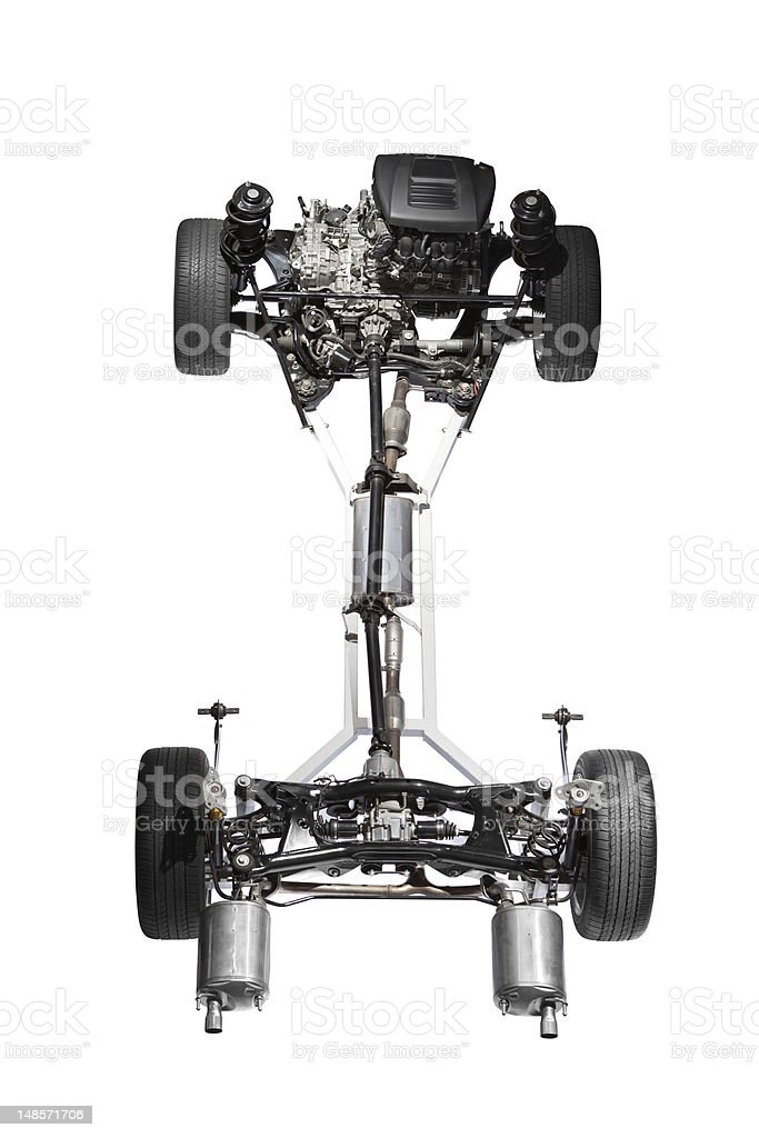 Car chassis with engine. stock photo
