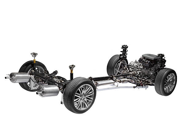 chassis com motor de carro. - exhaust white background imagens e fotografias de stock
