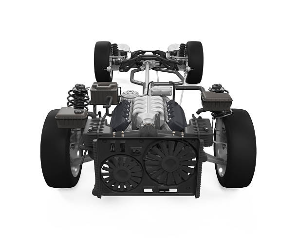 Car Chassis with Engine stock photo