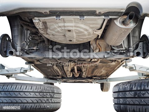 853517784 istock photo Car chassis with engine underbody isolated 469356010