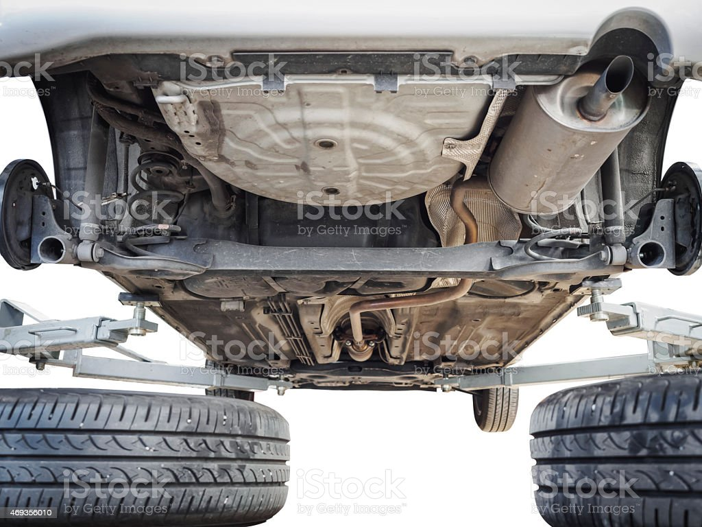 Car chassis with engine underbody isolated stock photo