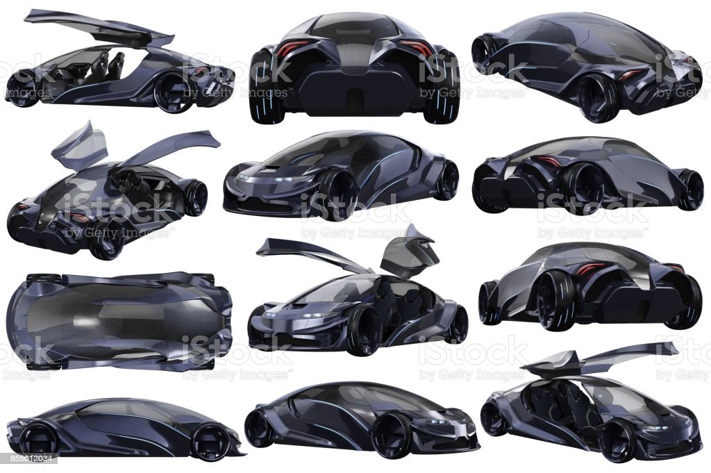 Car concept auto dark purple set stock photo