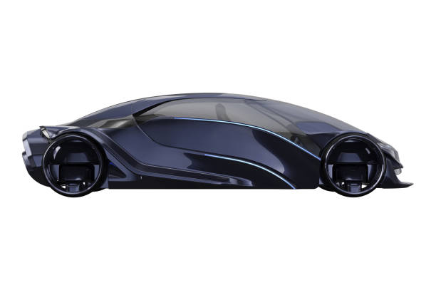 Car concept futuristic electric, side view Car concept dark purple electric fast supercar, side view. 3D rendering concept car stock pictures, royalty-free photos & images