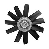 Car cooling fan with plastic blades radiator fan on white background. Car thermal clutch. radiator fan cooling on white background. Car truck details parts Car details parts.