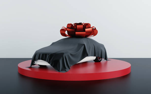 Car covered by black fabric with gift bow-knot. 3d render stock photo