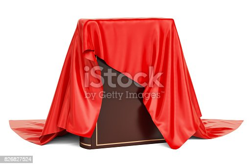 istock Car covered red cloth, presentation concept. 3D rendering  isolated on white background 826827524
