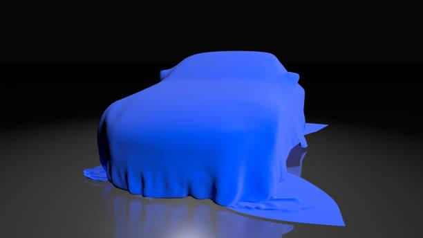 auto mit einem tuch bedeckt. 3d render - plane kaufen stock-fotos und bilder