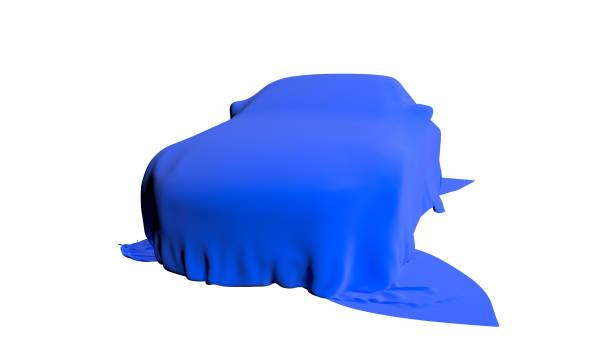 auto abgedeckt mit einem tuch isoliert. 3d render - plane kaufen stock-fotos und bilder