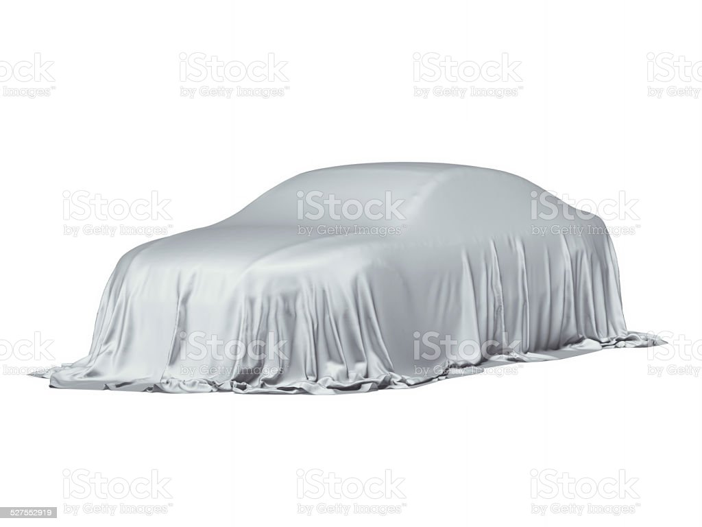 Car covered with a grey cloth stock photo