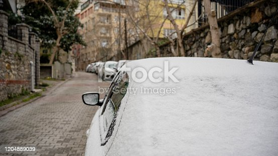 Car covered with snow after winter