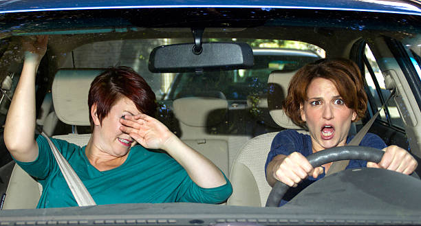 Car Crash Accident with a Scared Driver and a Passenger stock photo