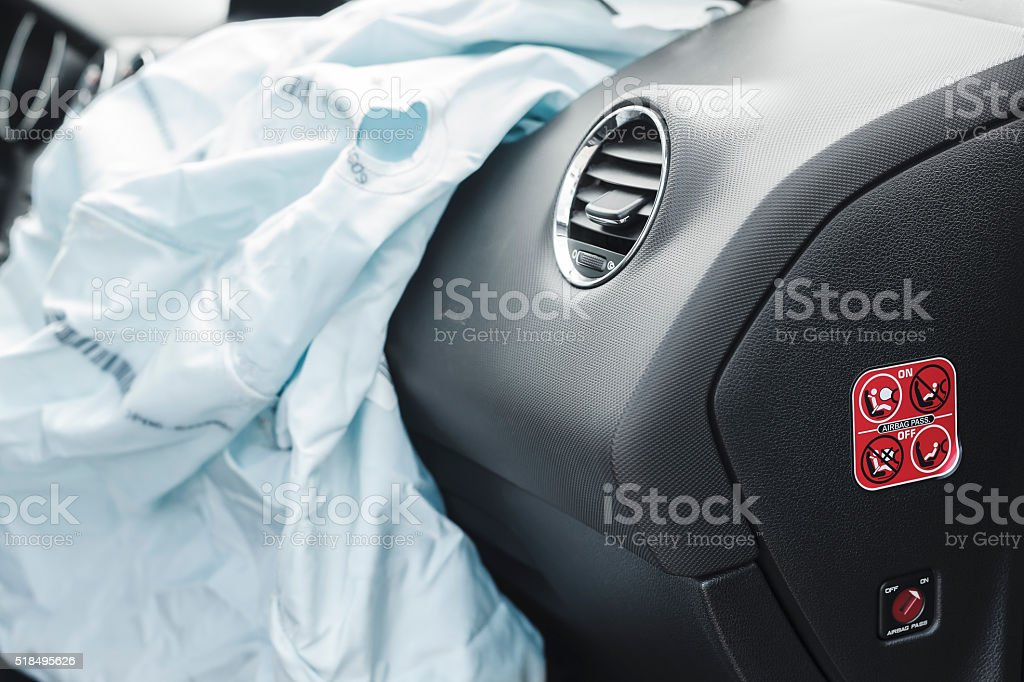Car Crash air bag, blue,  inscription airbag stock photo