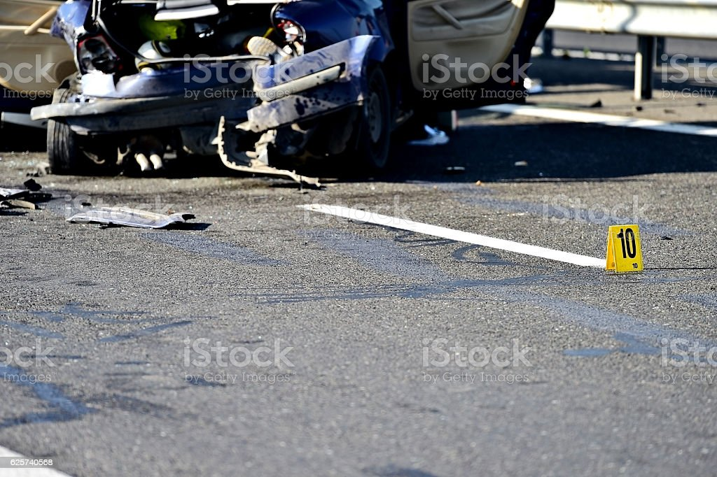 Car crash detail with damaged automobile stock photo