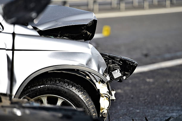 car crash detail with damaged automobile - car accident stock photos and pictures