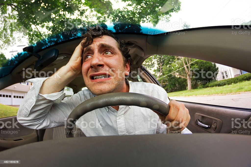 Car Crash Face stock photo