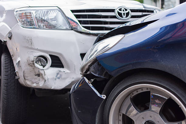 car crash from car accident on the road - impaired driving stock photos and pictures