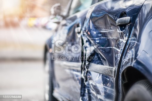 Car crash  on highway.  Automobile accident on street. Damage side or door after collision in city.