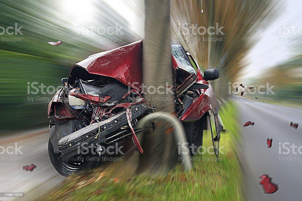 Car Crash car collides with tree Boulevard Stock Photo