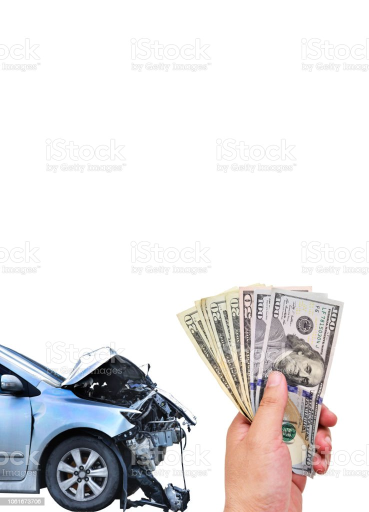 Car crash smash accident and hand holding US dollar stock photo
