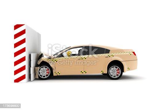 istock A car crash test running into wall 173698832