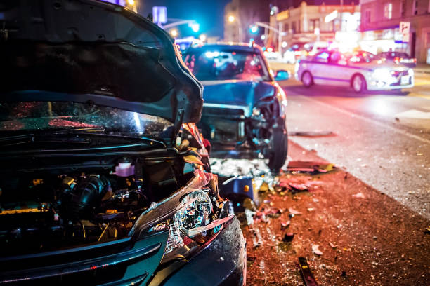 Car Crash with police Car Crash with police crash stock pictures, royalty-free photos & images