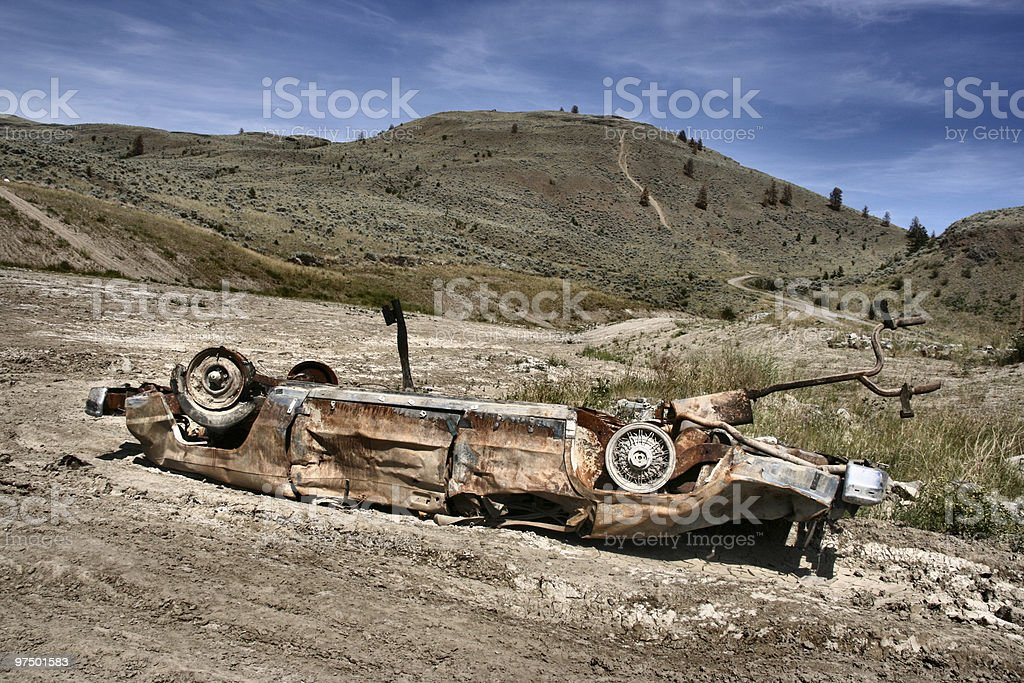 Car crashed in desert royalty-free stock photo