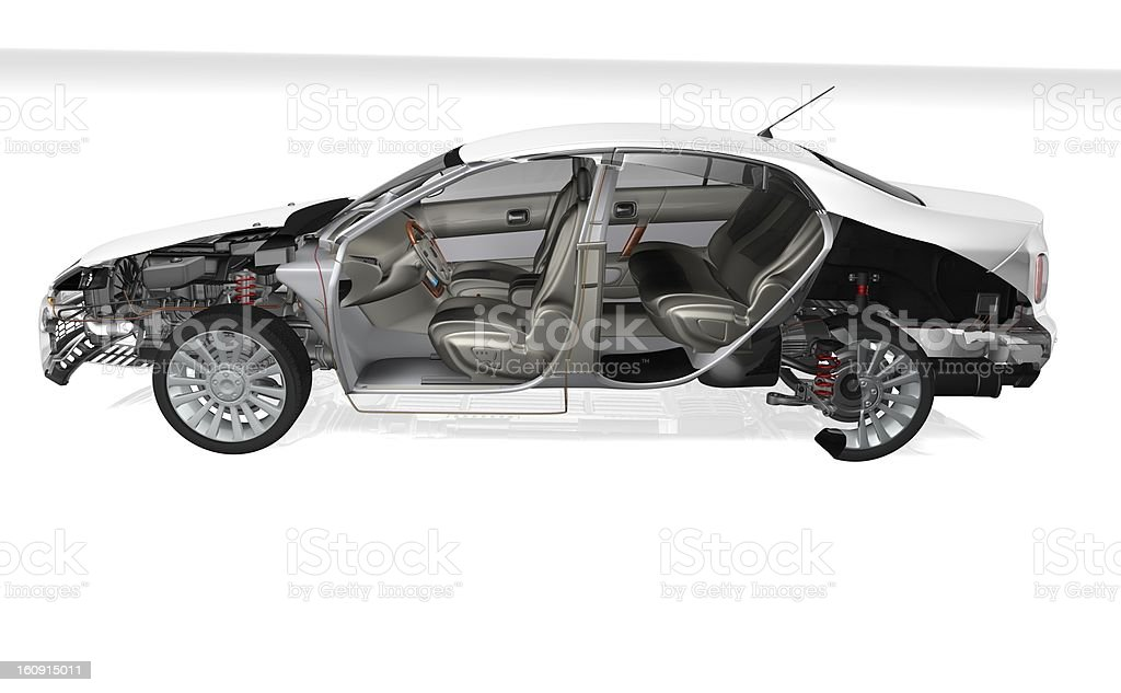 Car cross section in white stock photo
