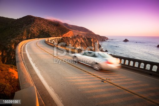 istock Car crossing the Bixby Bridge, Big Sur, California, USA 155391551
