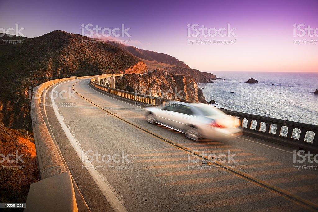 Car crossing the Bixby Bridge, Big Sur, California, USA stock photo