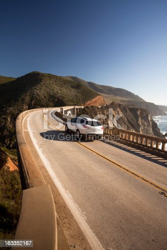 istock Car crossing the Bixby Bridge, Big Sur, California, USA 163352167