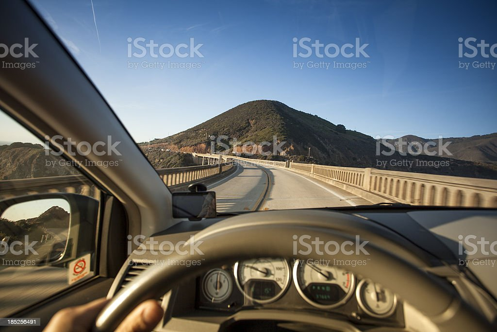 Car crossing the Bixby Bridge, Big Sur, California, USA stock photo