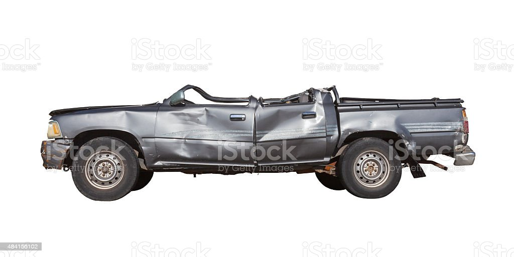 Car crushed stock photo