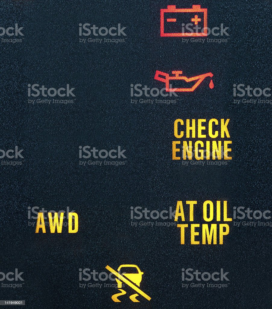 Car dash board warning indicators royalty-free stock photo