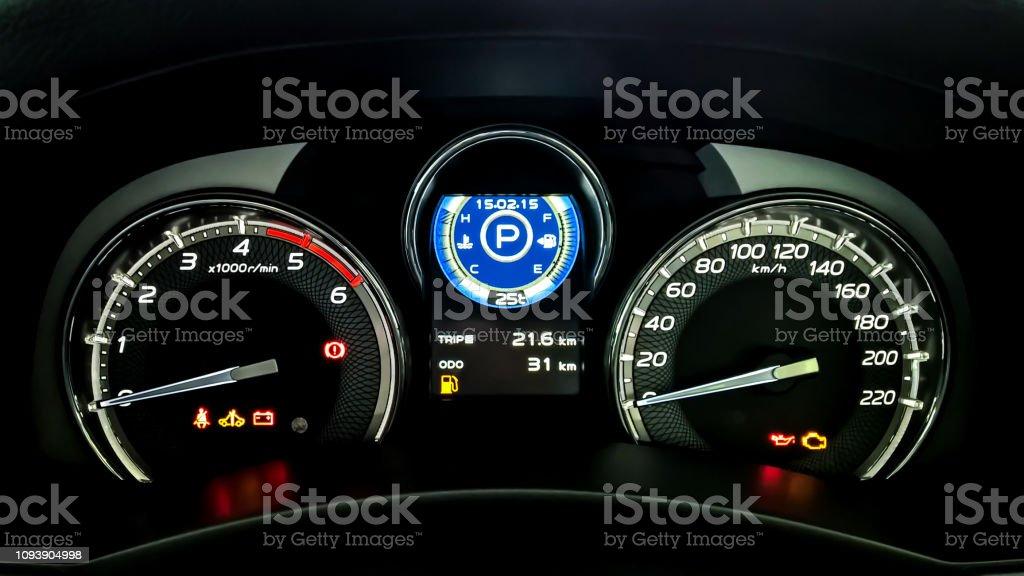 Car Dashboard Have A Speed Meter Tachometer Temperature
