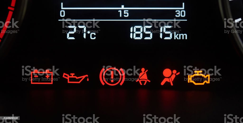 Car dashboard icons stock photo