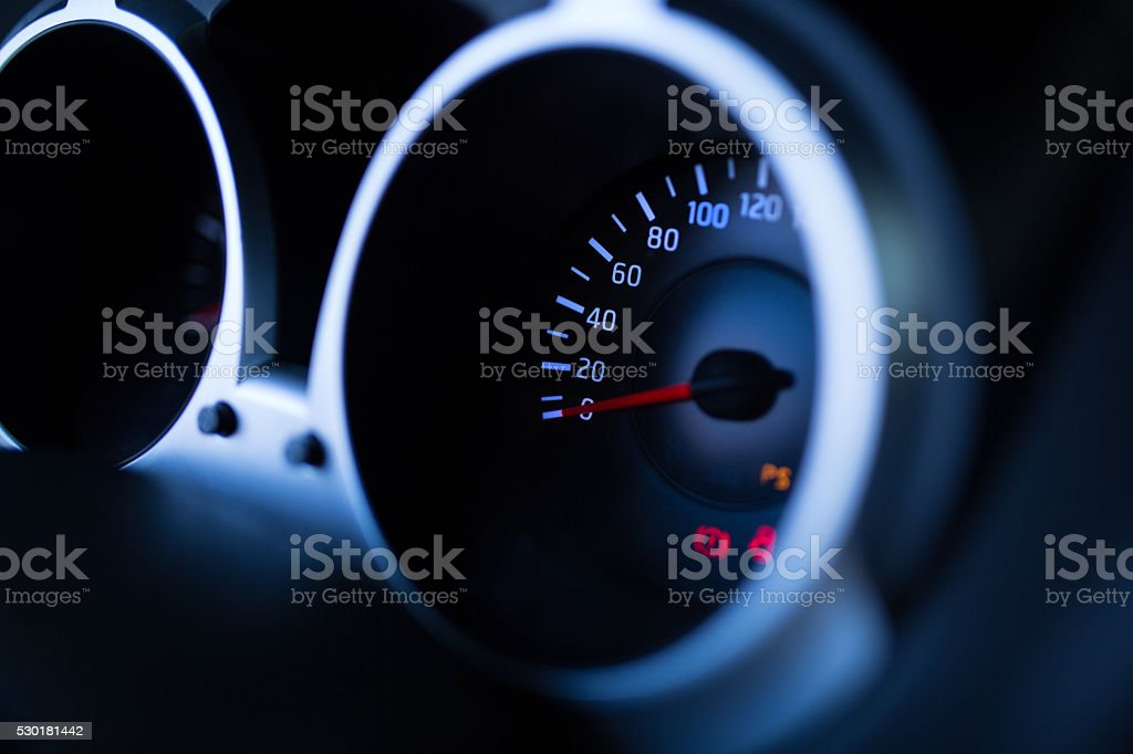 Car dashboard night view stock photo