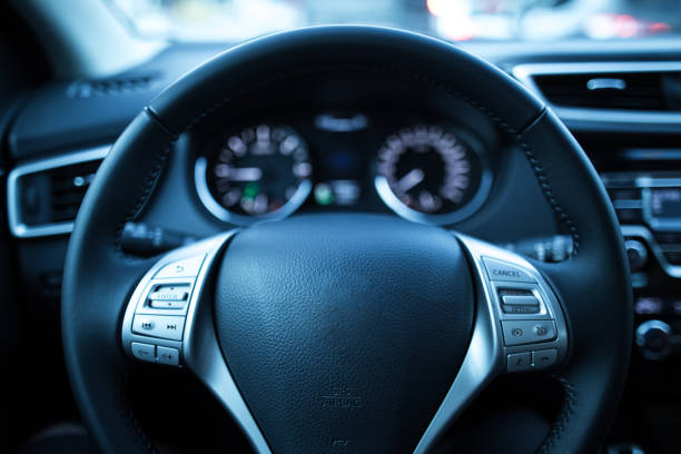 car dashboard - steering wheel stock photos and pictures