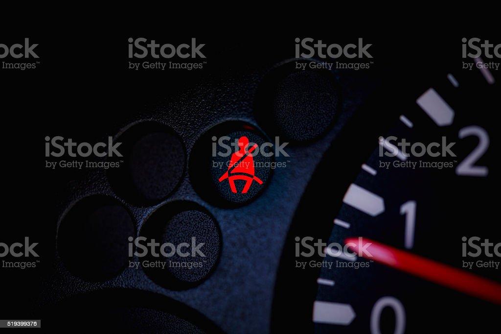 Car Dashboard Seat Belt Warning Light stock photo