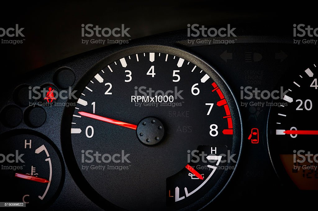 Car Dashboard with Odometer stock photo