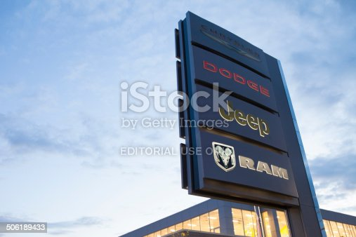Boucherville,Quebec, Сanada - August 7, 2014: car dealer american car sign.Logos of chrysler,jeep,dodge and ram of the car dealer.