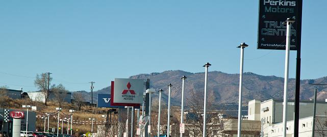 Car Dealerships Colorado Springs >> Car Dealerships In Motor City Colorado Springs Stock Photo