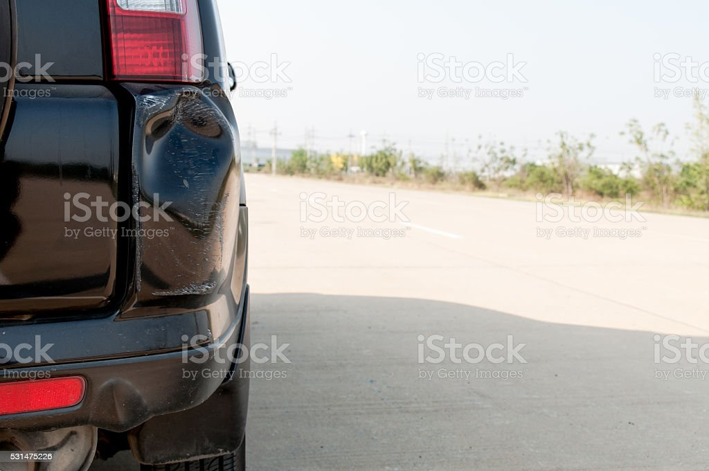 car dent after it crash a  something stock photo