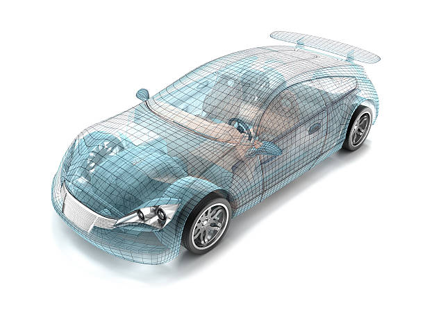 car design, wire model. my own design. - wire frame model stock photos and pictures